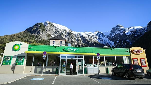 Čerpací stanice BP v rakouských horách